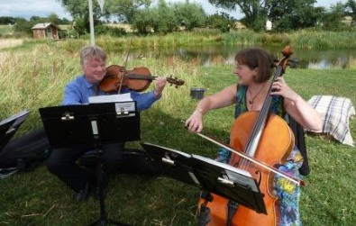 Cotswold Ensemble's String Quartet reception music at Rushey Meadows, Eynsham, Oxon