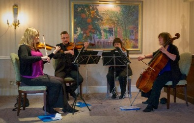 Cotswold Ensemble's String Quartet: Wedding at Lords of the Manor, Upper Slaughter, Glocs, photo by Tony Young