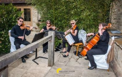 Cotswold Ensemble's String Quartet wedding music at Notley Tythe Barn, Buckinghamshire (NT)