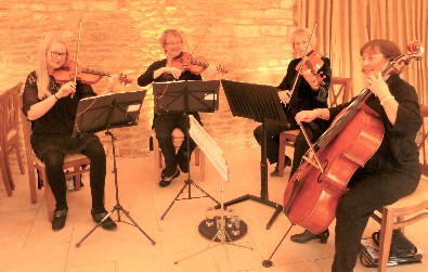 Cotswold Ensemble's String Quartet wedding music at Caswell House, Witney, Oxon