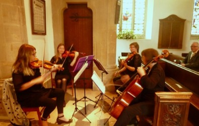 Cotswold Ensemble's String Quartet wedding music at Bremhill church, nr. Calne, Wilts