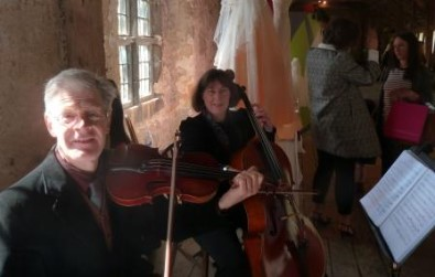Cotswold Ensemble's String Duo music at Abingdon Abbey, Oxfordshire