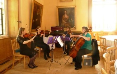 Cotswold Ensemble String Quartet party celebration music at Lodge Park (National Trust) near Burford (Oxon)