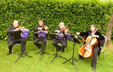 Cotswold Ensemble's String Quartet wedding music at Manor House Hotel, Moreton in Marsh, Glocs.