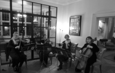 Cotswold Ensemble String Quartet, wedding, Lower Slaughter Manor, Gloucestershire