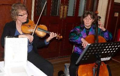 Cotswold Ensemble's String Duo reception music at Banbury Town Hall, Oxfordshire