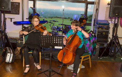 Cotswold Ensemble String Duo music at a 60th Birthday Party, Broadway Golf Club, Worcs, June 2016. Photo IDUZ photography.