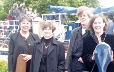 The Cotswold Ensemble String Quartet at a memorial party on a Salters Steamer near Oxford