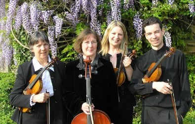 Cotswold Ensemble String Quartet at a wedding near Stroud, Glocs.