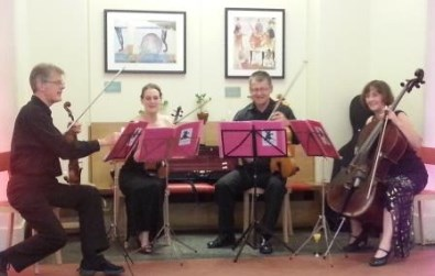 Cotswold Ensemble's Tango Quartet wedding reception at the Ashmolean Cafe, Oxford