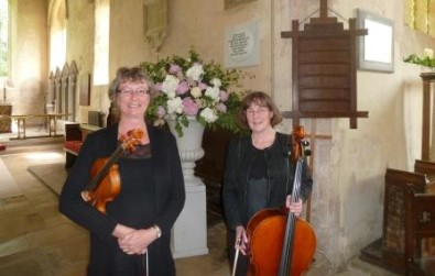 Cotswold Ensemble String Duo wedding music at Gt Tew church, Oxfordshire