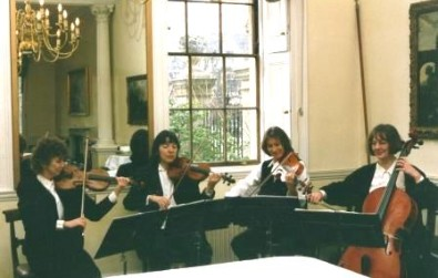 Cotswold Ensemble String Quartet reception music at an Oxford College party