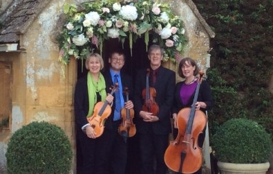 Cotswold Ensemble's String Quartet: wedding at Lords of the Manor, Upper Slaughter, Glocs