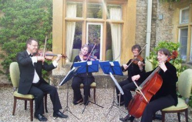 Cotswold Ensemble's String Quartet wedding music at Lords of the Manor, Upper Slaughter, Stow, Glocs.