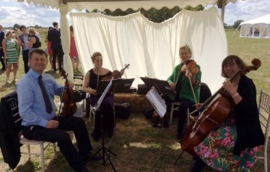 Cotswold Ensemble's String Quartet: humanist wedding music at Newbridge, Oxfordshire