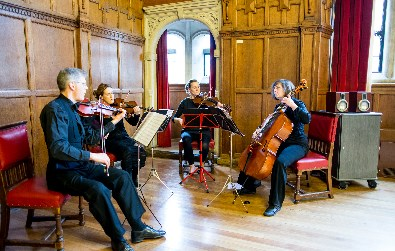 Cotswold Ensemble's String Quartet wedding music at Oxford Town Hall - by Evolve Photography