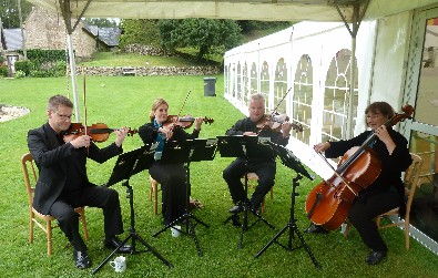 Cotswold Ensemble String Quartet party music at Wishanger Manor, near Stroud, Glocs