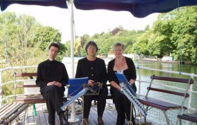 Cotswold Ensemble's String Quartet party celebration music on a Salter's Steamer at Henley Regatta, Oxon