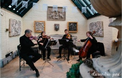 Cotswold Ensemble's String Quartet wedding reception at Waddesdon Dairy, Buckinghamshire (NT)
