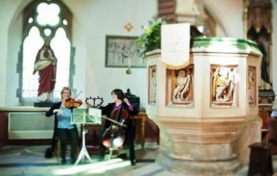 Cotswold Ensemble String Duo at Woodchester, Glocs - Claire Lau photographer